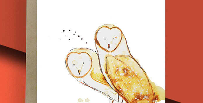 Barn Owls Blank Card