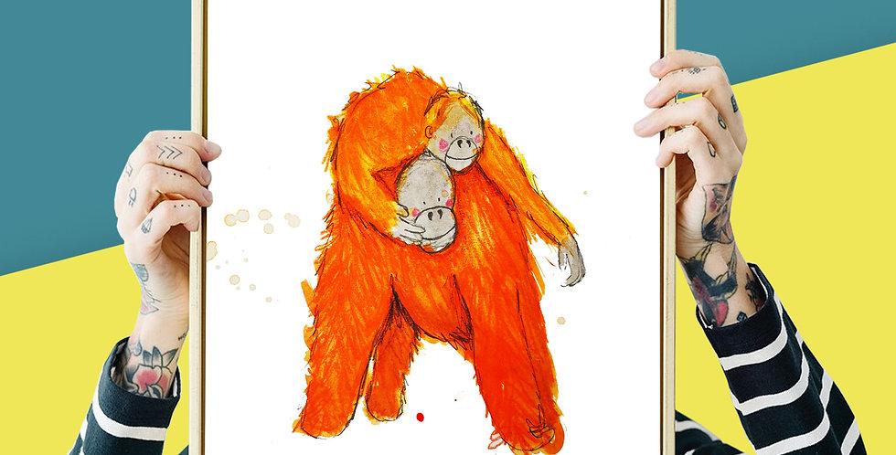 Orangutan Illustration Giclee Print A3 or A3