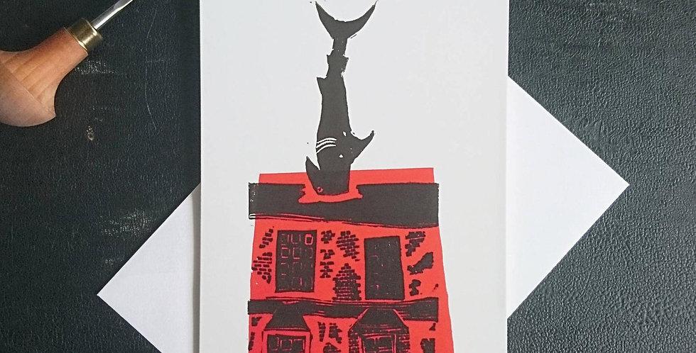 6x Oxford Shark House Blank Card