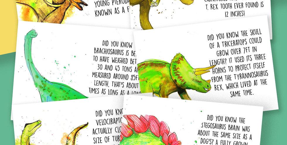 6x Dinosaur Facts Postcard Pack