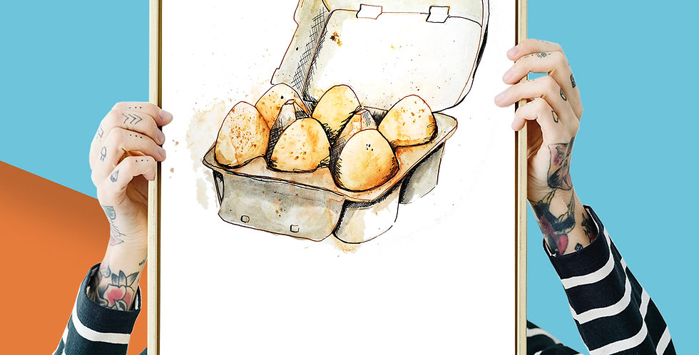 4 x Pack of Eggs Illustration Giclee Print A3 or A4