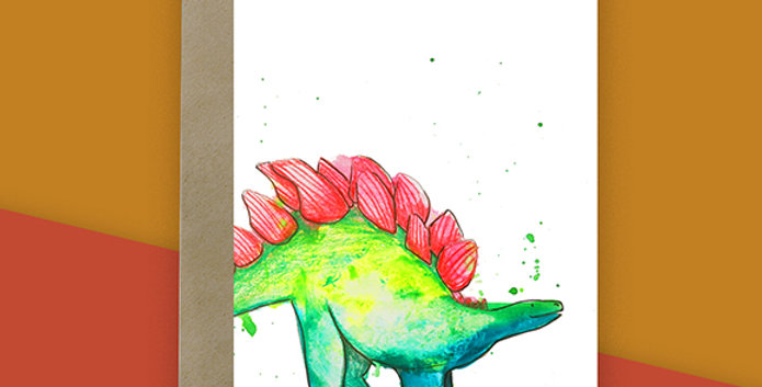 6x Stegosaurus Blank Card