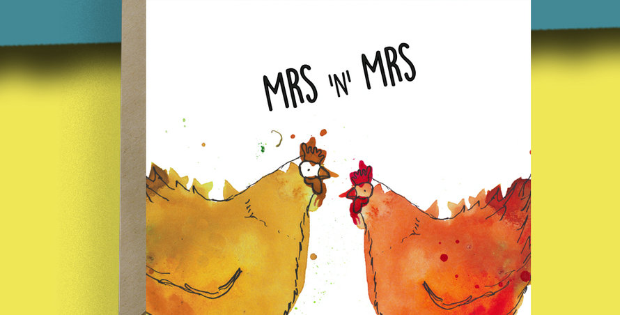 Mrs and Mrs Chicken Card