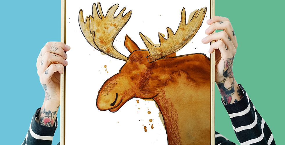 Moose Illustration Giclee Print A3 or A3