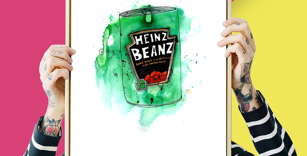Heinz Baked Beans Illustration Giclee Print A3 or A4