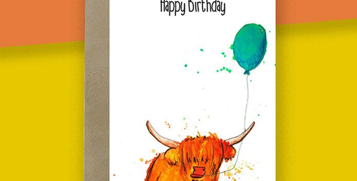 Balloon Highland Cow Birthday Card