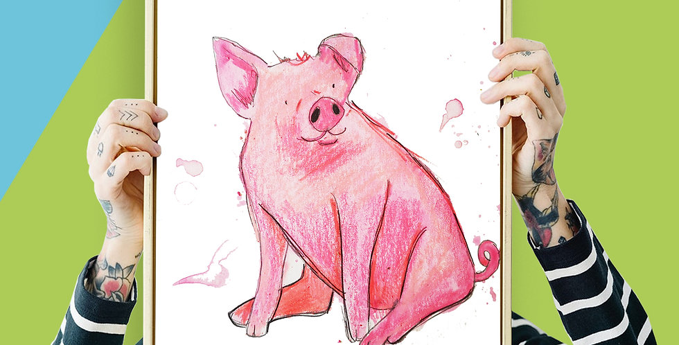 Pig Illustration Giclee Print A3 or A3