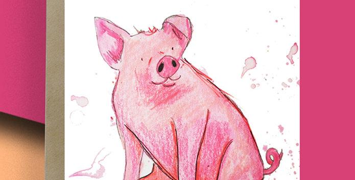 6x Pig Blank Card