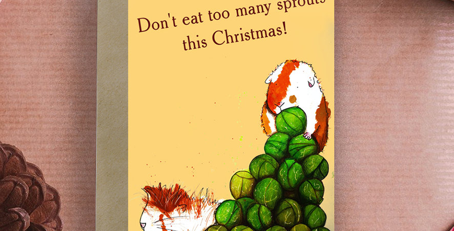 6x Don't eat too many sprouts! Guinea Pig Christmas Card