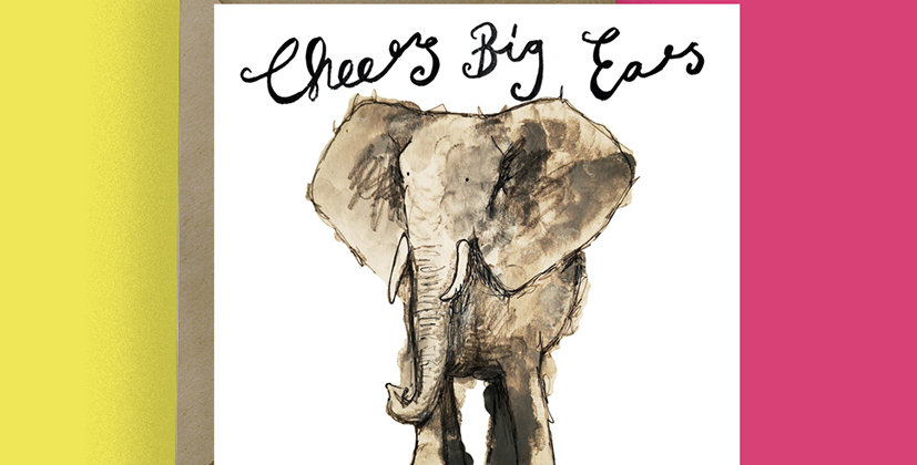 6x Cheers Big Ears Thank you Card