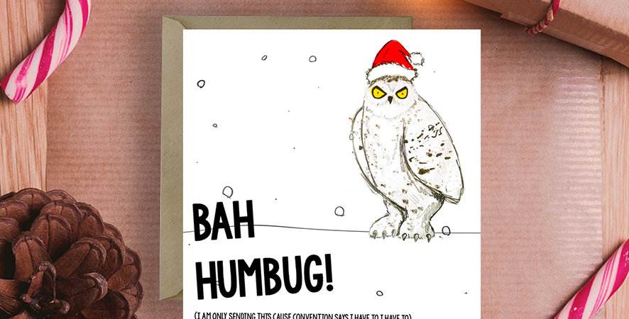 6x Bah Humbug Snow Owl Christmas Card