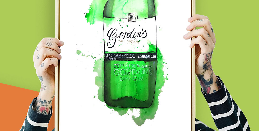 Gordon's Dry London Gin Illustration Giclee Print A3 or A4