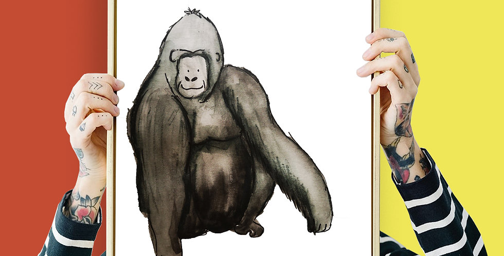 Gorilla Illustration Giclee Print A3 or A3