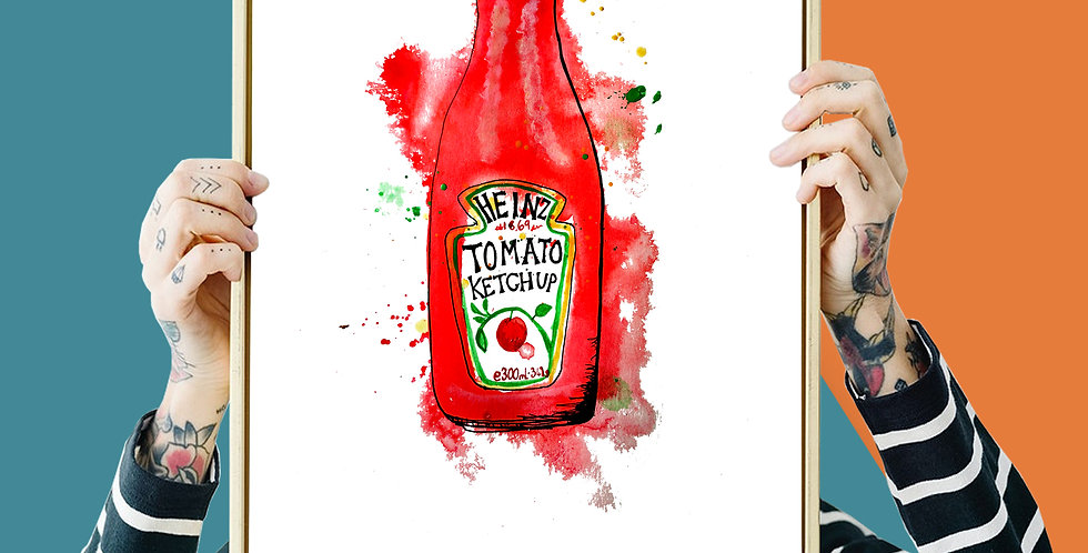 Heinz Tomato Ketchup Illustration Giclee Print A3 or A4