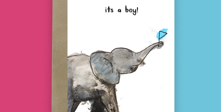 6x It's a Boy! Baby Elephant Card