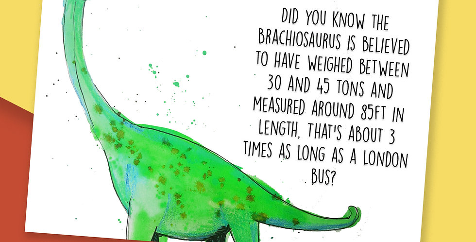 50x Brachiosaurus Fact Postcards