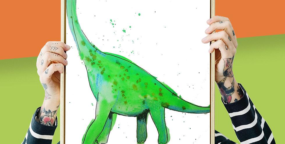 Brachiosaurus Illustration Giclee Print A3 or A3