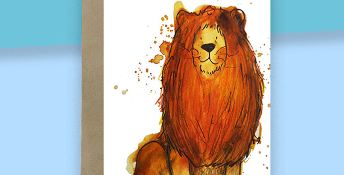 6x Lion Blank Card