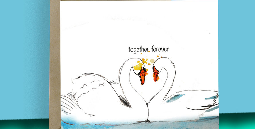 6x Together forever Swan Cards