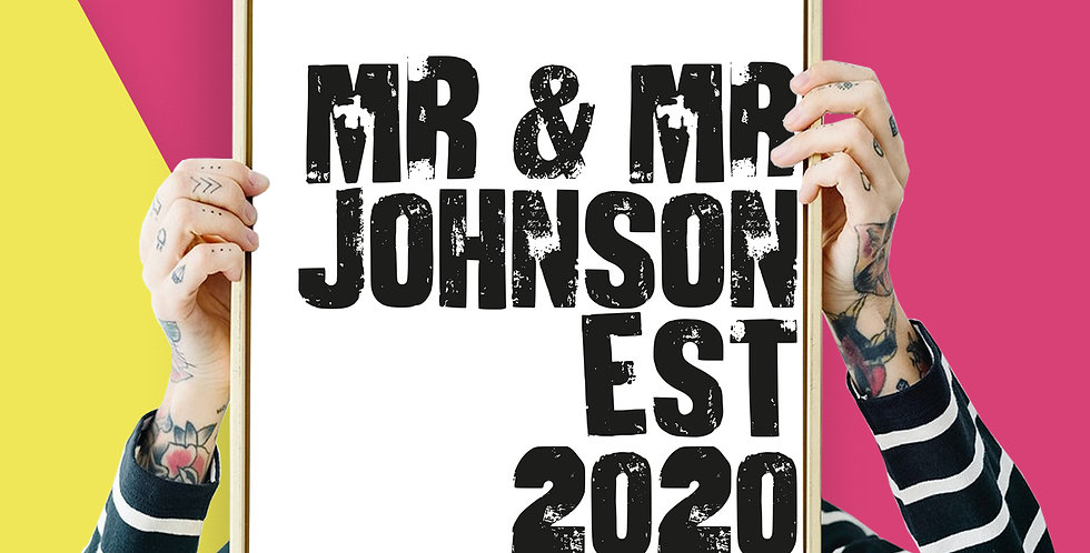 Mr an Mr Wedding Est Bespoke / Personalised Letter Press Giclee Print A3 or A4