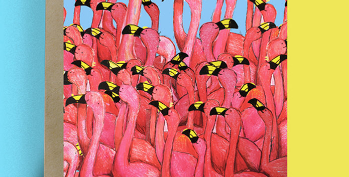 6x A Flamboyance Of Flamingos Blank Card