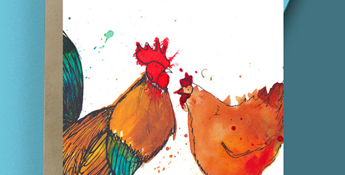 Chicken and Cockerel Blank Card