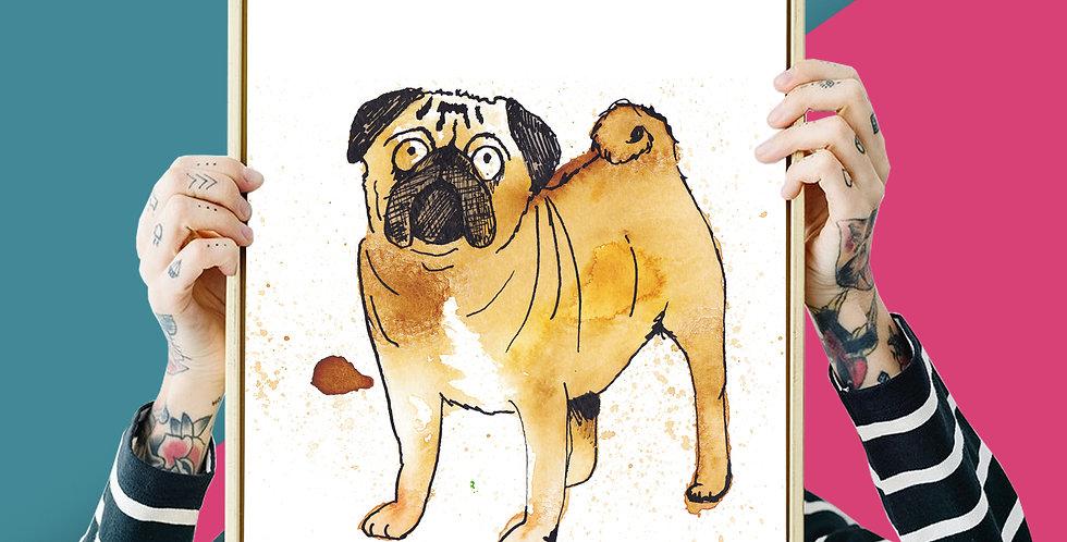 Pug Illustration Giclee Print A3 or A4
