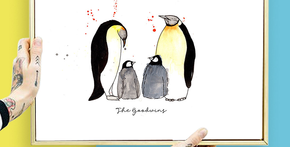 Personalised Penguin Family Print A3 or A4