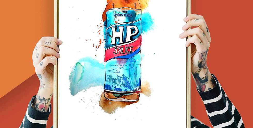 4 x HP Brown Sauce Illustration Giclee Print A3 or A4