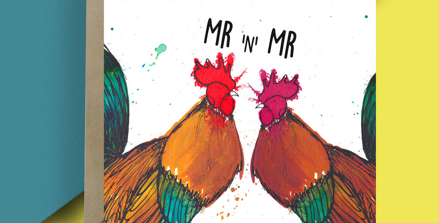 6x Mr and Mr Cockerel Card