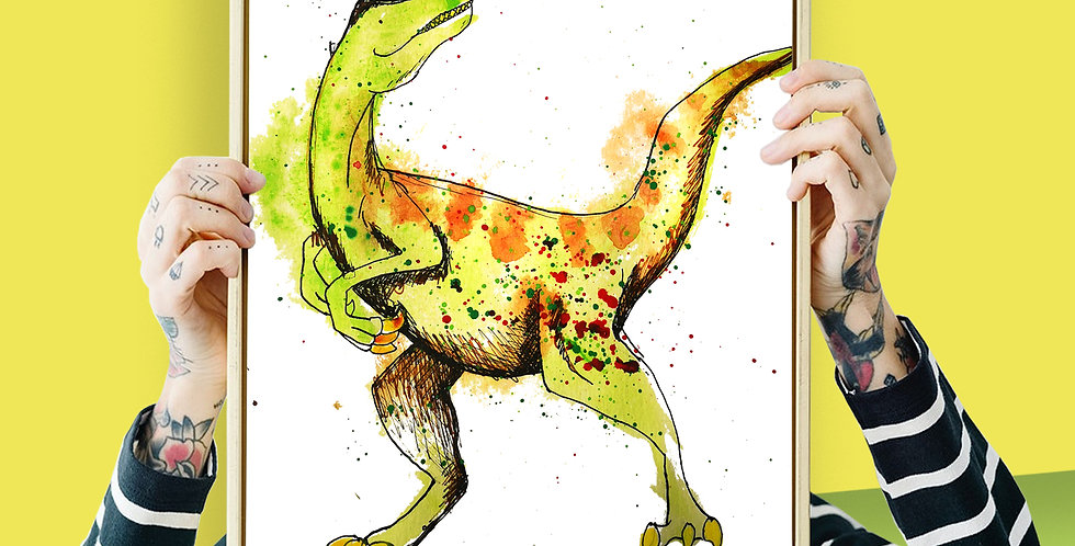 Velociraptor Illustration Giclee Print A3 or A3