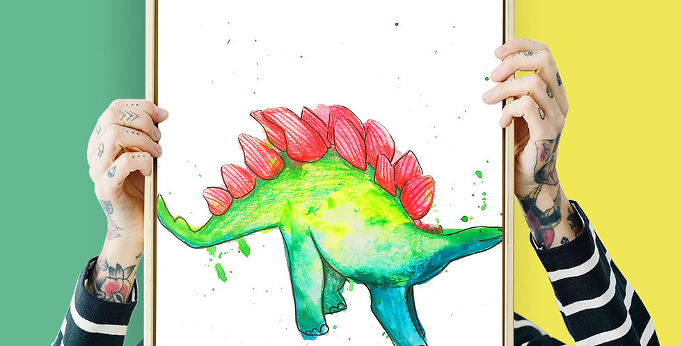 Stegosaurus Illustration Giclee Print A3 or A3