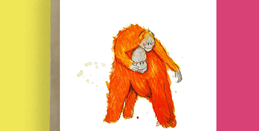 6x Orangutan Mum Card
