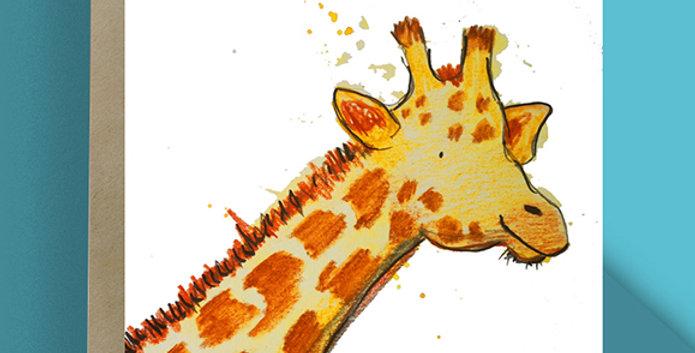 6x Giraffe Blank Card