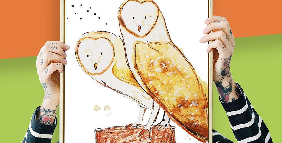 Barn Owl Illustration Giclee Print A3 or A3