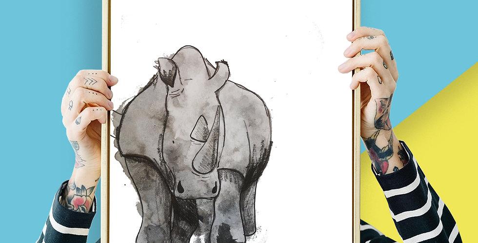 Rhino Illustration Giclee Print A3 or A3