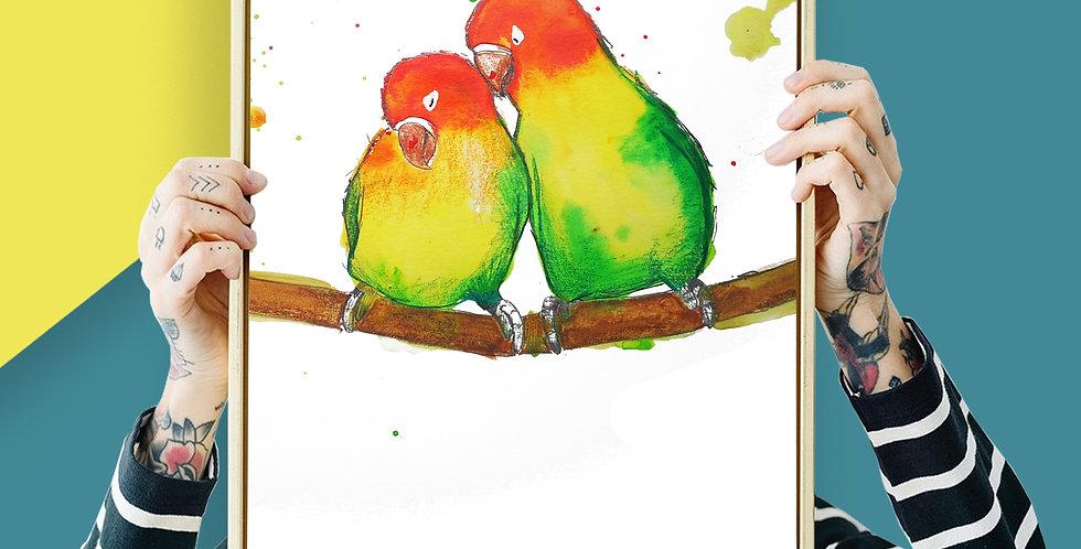Love Birds Illustration Giclee Print A3 or A3