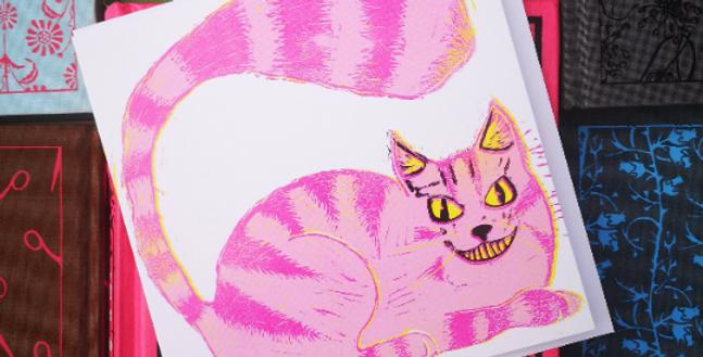 6x Alice in Wonderland Cheshire Cat Blank Card