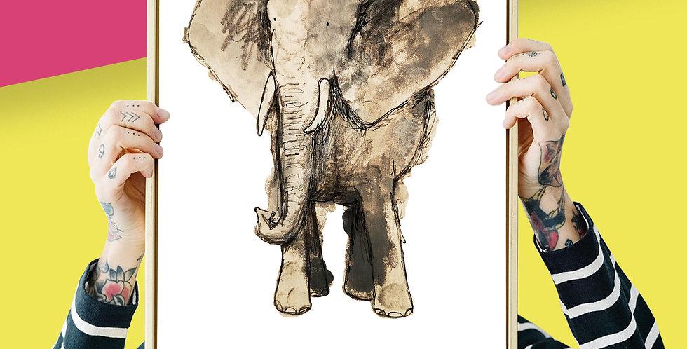 Elephant Illustration Giclee Print A3 or A3