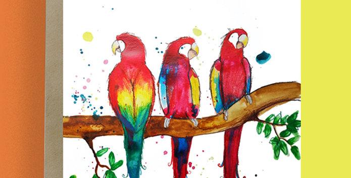 6x Flock of Parrots Blank Card