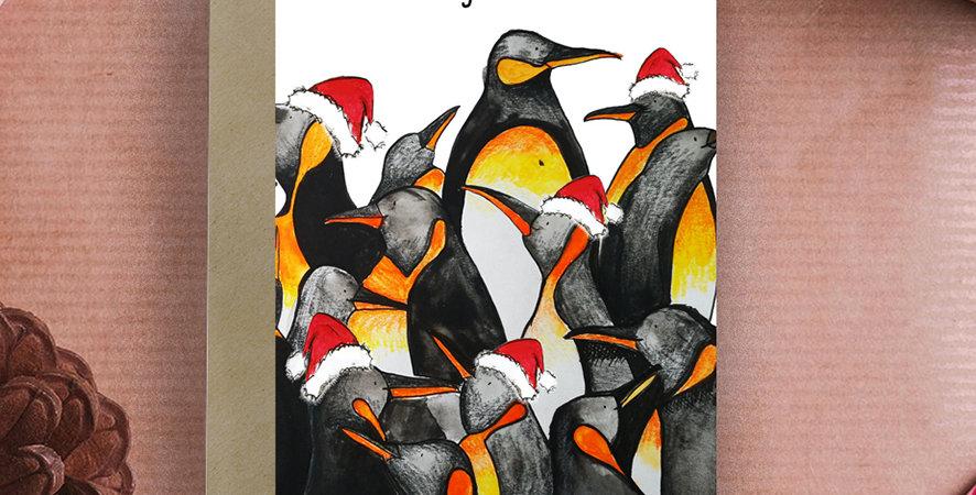 6x Christmas Penguins Christmas Card