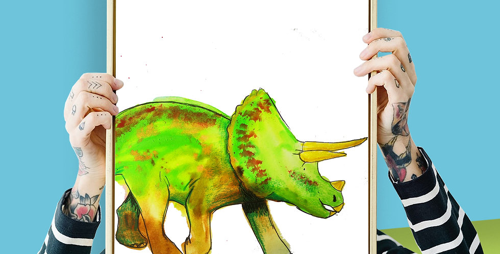 Triceratops Illustration Giclee Print A3 or A3