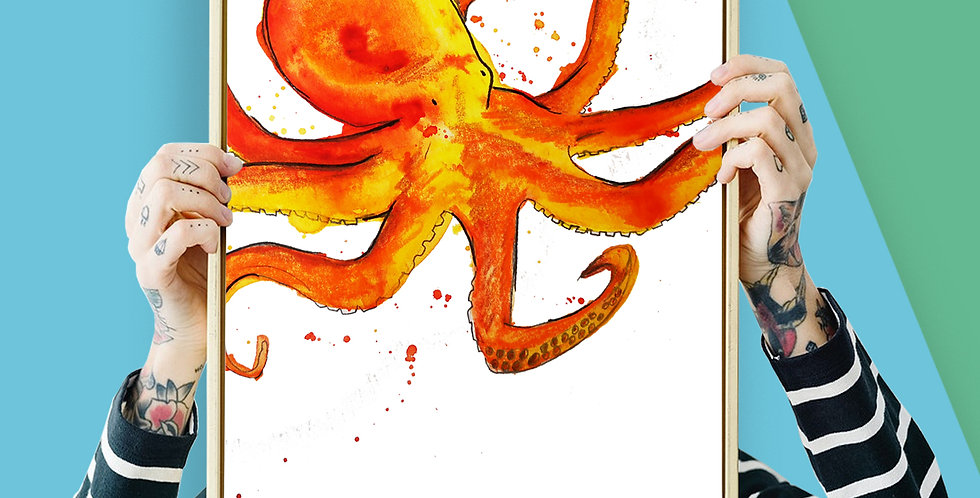 Octopus Illustration Giclee Print A3 or A3