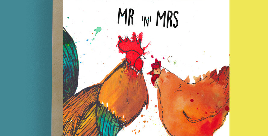 Mr and Mrs Chicken and Cockerel Card