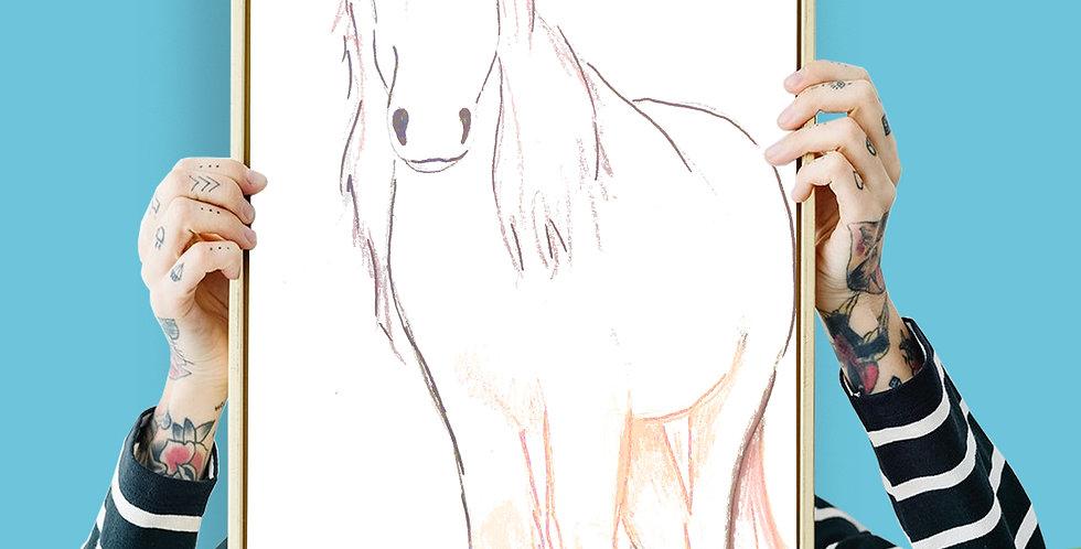Unicorn Illustration Giclee Print A3 or A3