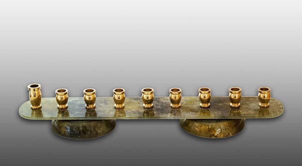 Eco Friendly Glass Menorah With Metal Holders in Earth Tone Colors