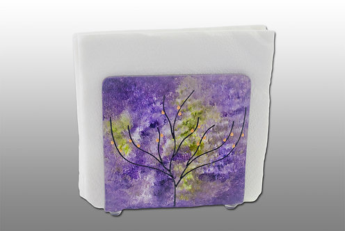 purple amber and white glass painted napkin holder with tree