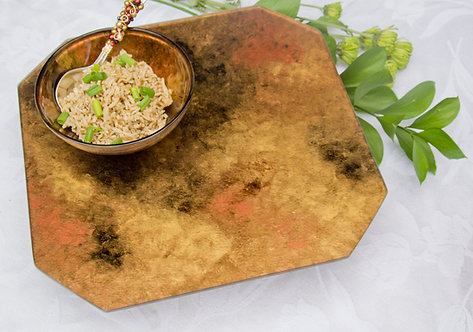 copper and gold glass painted lazy susan tray