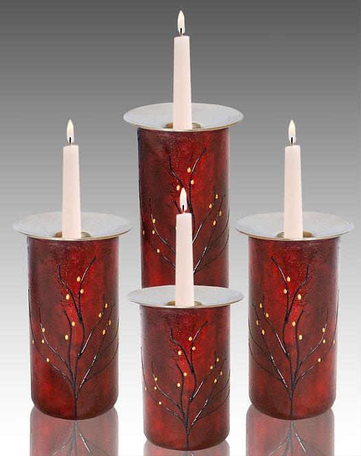 red velvet candle holders