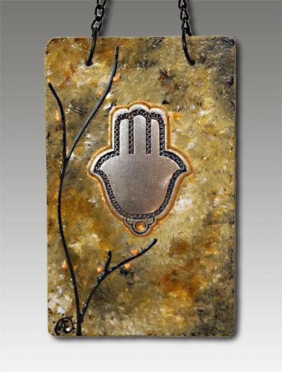 Hamsa blessing glass painted forest glen